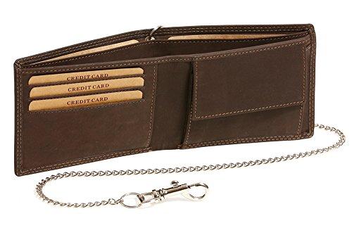 LEAS MCL Biker-portemonnee extra dunne chromen ketting horizontaal formaat vintage stijl in echt leer, bruin - LEAS Chain-Series