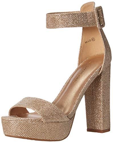 DREAM PAIRS Women's Hi-Lo Gold Glitter High Heel Platform Pump Sandals - 9.5 M US
