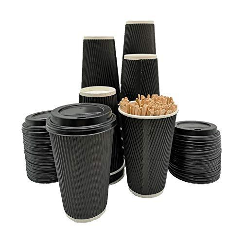 BAMI Kaffeebecher - 0,4l (16oz) Set Riffelbecher Einweg Tee Kaffee Cappuccino Heiße Getränke schwarz Pappe, geriffelt, doppelwandig - 100 Becher + 100 Deckel + 100 Rührstäbchen