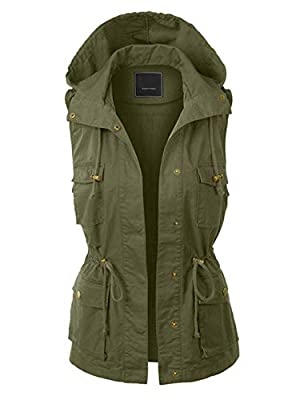 Jenkoon Women's Anorak Utility Jacket Vest Multi-Pockets Outdoors Vest Sleeveless Jacket (Green, Large) by
