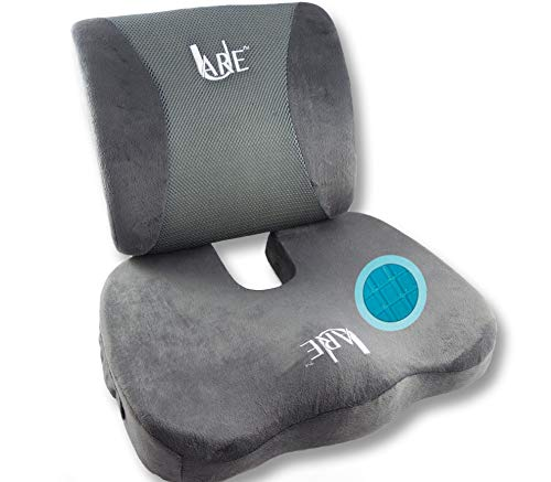 Cool Gel Memory Foam Seat Cushion with Rain Cover and Lumbar Support Pillow for Office Chair and Car Seat Cushions - Ultimate Comfort Set Relieves Back Pain, Tail Bone Pain, Sciatica Seat Cushion: SET