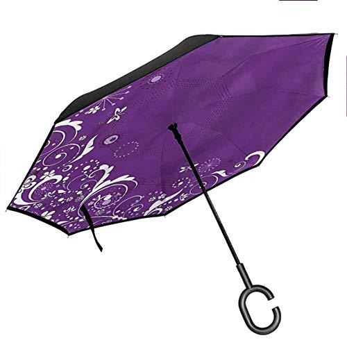 Ediyuneth Inverse Umbrella Abstract,Butterflies Floral Windproof C-Hook Hands