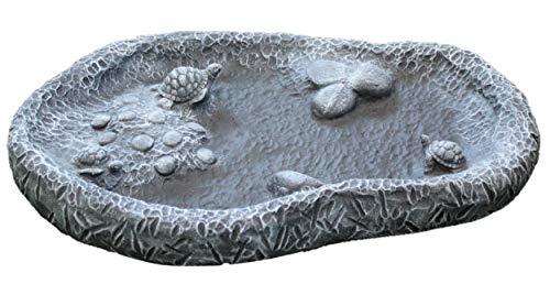Tiefes Kunsthandwerk Vogeltränke mit Schildkröten - Schiefergrau, Frostsicher, Vogelbad für den Garten