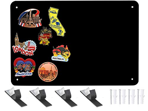 Black Metal Magnet Board - 17.5 x 11.5 Flat Magnetic Board for Magnets and Bulletin Board - Comes with Dual Lock Tape for Easy Hanging