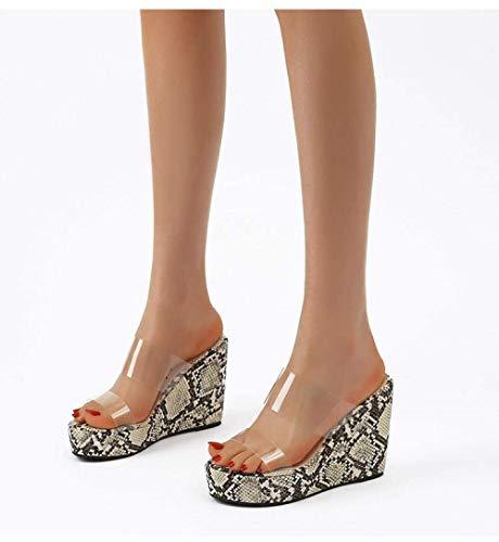 Ergonómica flip-flops del dedo del pie tanga sandalias, cuña con el patrón de la serpiente de plástico transparente sandalias y zapatillas las mujeres-black_35, antideslizante baño del deslizador de l