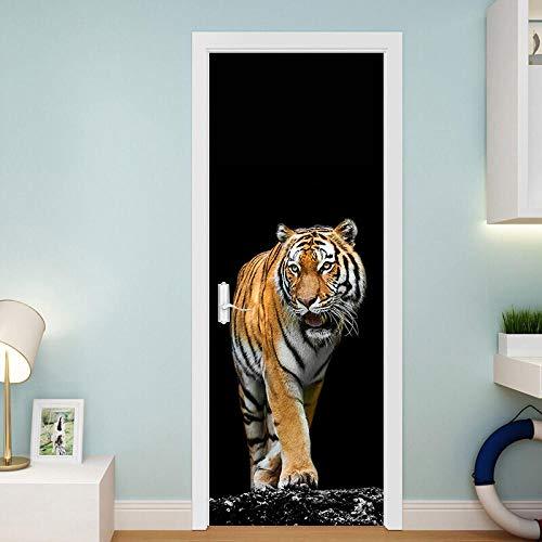 JJDSL Etiqueta de Puerta Vinilos para Puerta Pared Adhesivos Papel de Pared - Negro, animal, tigre, simple - 95x215 cm - para Cocina Baños Dormitorio Infantiles - 3D Autoadhesiva Impermeable D