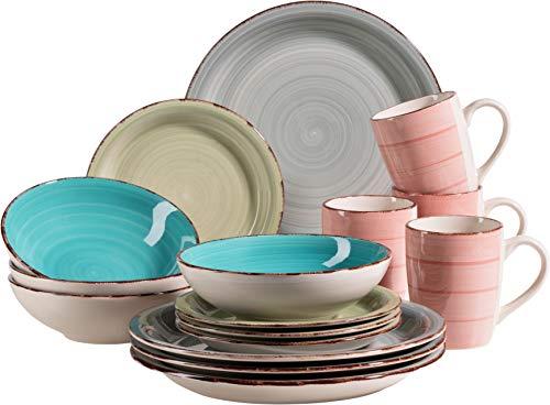 MÄSER 931499 Bel Tempo II 16-teiliges Vintage Geschirr-Set für 4 Personen, handbemaltes Keramik Kombiservice, bunt, Steingut