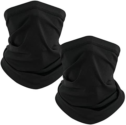 TICONN Neck Gaiter Face Cover Scarf Black 2 Pack Summer Cool Breathable Lightweight Sun Wind product image