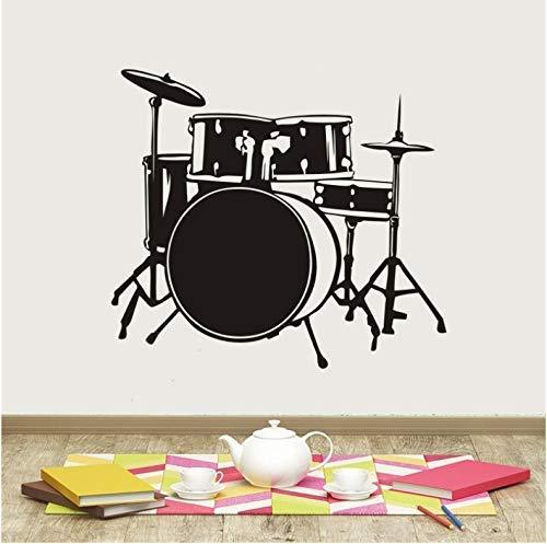 Musikinstrument Wandaufkleber Abnehmbare Vinyl Drum Set Schlagzeuger Musik Wandtattoo Musik Bar Wandkunst Wandbild Musik Dekoration 42X47Cm