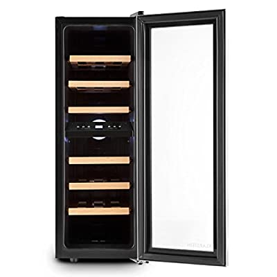 Klarstein Reserva Duett 12 Wine Refrigerator - Cooler, Fridge, 65 litres, 21 Bottles, 2 Programmable Cooling Zones, 6 Removable Wooden Shelf Inserts, LED, Double-Insulated Glass Door, Silver