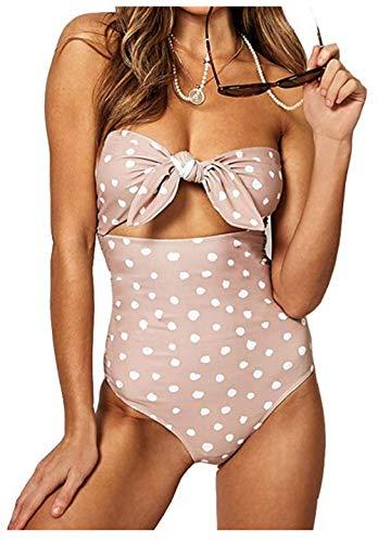 Billiant Womens Plus Size Polka Dot Beachwear Bandeau Tummy Control One Piece Swimsuit XL