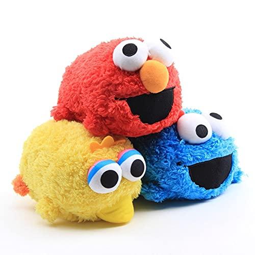 3Pcs Barrio Sésamo Juguetes De Peluche Elmo Big Bird Cookie Doll 18Cm, Peluches Almohada Suave Niños CumpleañosNavidad Halloween Pascua Regalo del Bebé