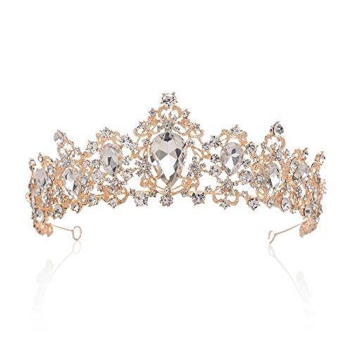 SWEETV Royal CZ Crystal Crown Bridal Tiara Princess Headpieces Wedding Hair Accessories, Clear+Rose Gold