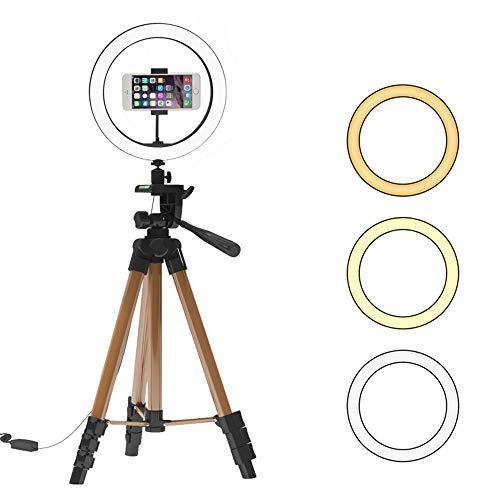 10 inch ringlicht met standaard, ring licht met statief, voor YouTube-video Live Stream make-up fotografie, dimbare met 3 lichtmodi en 10 helderheidsniveaus,10in