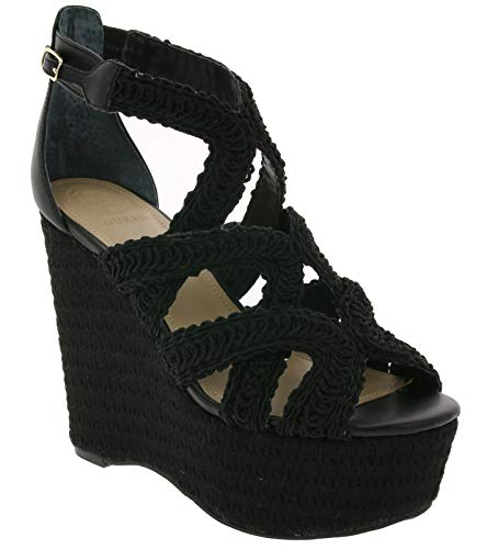 Guess Schuhe Sandalen modische Damen Keil-Pantoletten mit Schnalle Sandaletten Abend-Schuhe Schwarz, Größe:39
