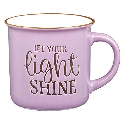 Let Your Light Shine Lavender Camp Style Coffee Mug Ceramic Campfire Mug Encouraging and Inspirational Mug for Women 13oz