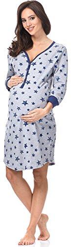 Italian Fashion IF Premamá Camisón Premamá Lactancia Mujer C492T 0111 (S, Melange/Azul Oscuro)