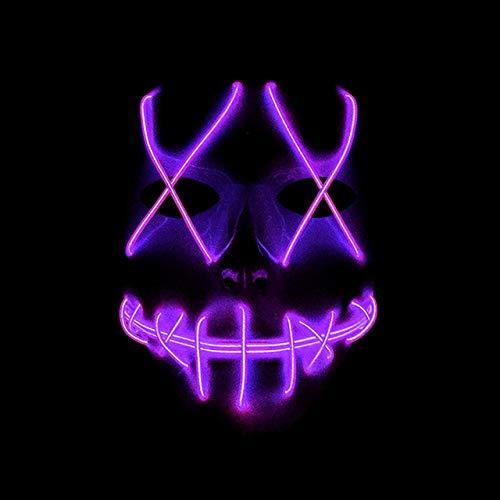 BFMBCHDJ Máscara Led Máscara de Halloween Máscara de resplandor Fiesta de neón Máscara de mascarada Carnaval Máscara de horror blanca Violeta claro Talla única