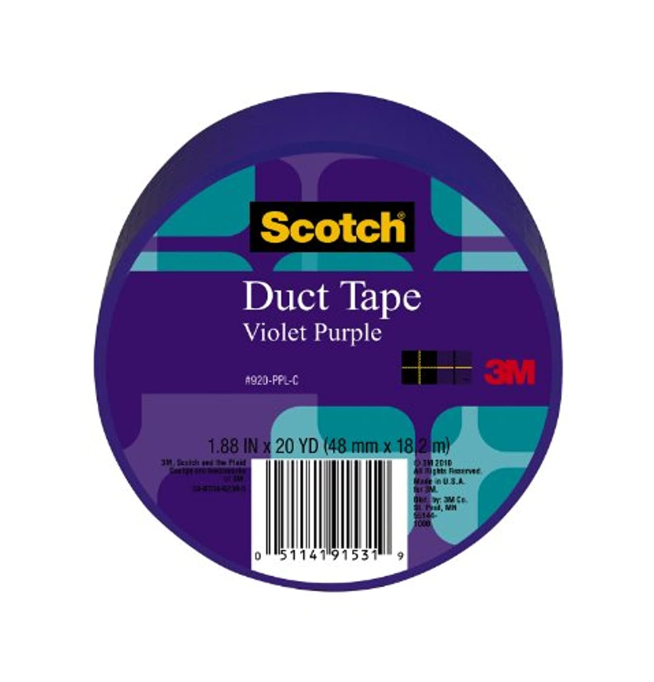 Scotch Duct Tape, Violet Purple, 1.88-Inch by 20-Yard, 6-Pack