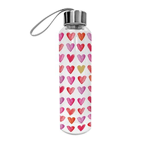 PPD Aquarell Hearts Glasflasche, Glas Flasche, Trinkflasche, Sportflasche, Borosilikatglas, Transparent / Pink, 550 ml, 603397