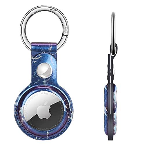 Capa de PU couro de luxo FYY para airTags, suporte leve de proteção para airTags com chaveiro, capa portátil anti-riscos e anti-perda de pele para airTag Finder Tracker Marmoreio Azul