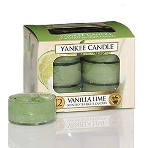 Yankee Candle Candele profumate tea light, Vaniglia e Lime, 12 pezzi