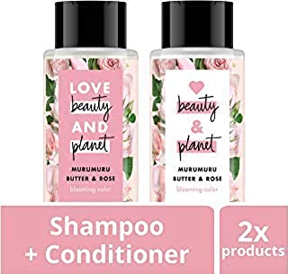 Love Beauty And Planet Rose Shampoo and Conditioner for Color Treated Hair, Silicone Free, Paraben Free and Vegan, 13.5 oz, 2 count
