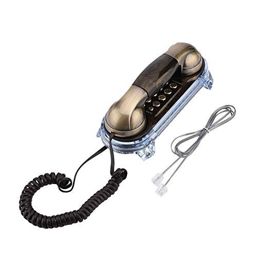 Richer-R Teléfono Retro,Teléfono Fijo Vintage, Teléfono de Diseño Antiguo Elegante,Teléfono con Cable de Sobremesa o Pared para Casa/Oficina(Rellamada/Pausa/Ajuste el Volumen del Timbre)(Bronce)