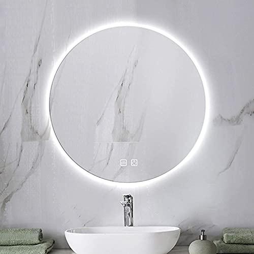 LZQHGJ YAWEN Redondo DIRIGIÓ Espejo de baño, Espejo de Maquillaje de tocador montado en la Pared iluminada con Chic con Interruptor táctil, Anti-Niebla, 4 tamaños