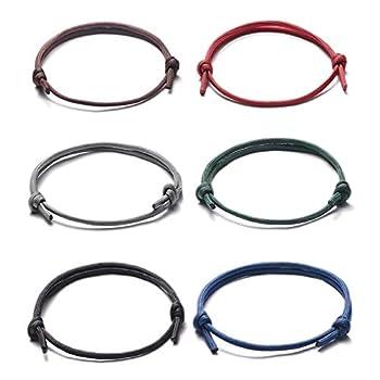 Jeka Nautical Braided Bracelet for Men Boys,Paracord Rope Surfer Bracelets Set String Cord Friendship Adjustable Handmade Knot Wristbands Gift 6 Pcs