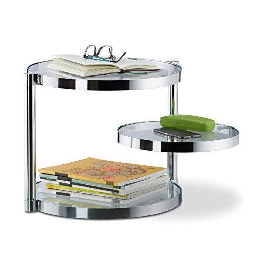 Relaxdays salontafel van glas met draaibare plank, 3 ronde platen, bijzettafel h x b x d: ca. 39 x 52 x 45 cm, zilver