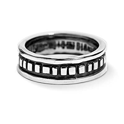 American West Sterling Silver Rectangular Bead Band Ring Size 12