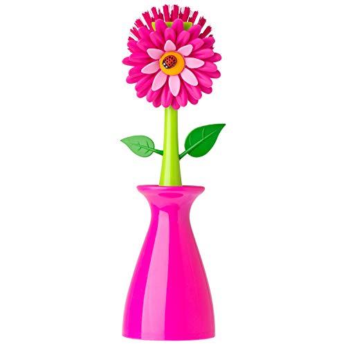 VIGAR Flower Power Originale Spülbürste mit Ständer, Pink, 8 x 7 x 26 cm