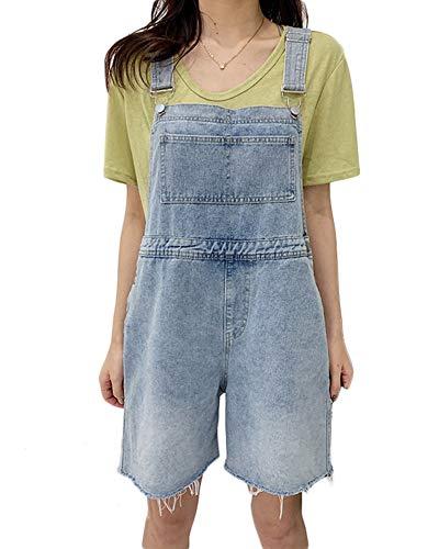 She Charm Femmes Denim Stretch Shorts Salopette Casual Taille Haute Sangle Jumpsuit,Light Blue,L