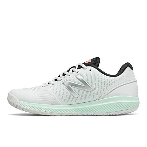 New Balance Women's 796 V2 Hard Court Tennis Shoe, White/White Mint/Paradise Pink, 11 X-Wide