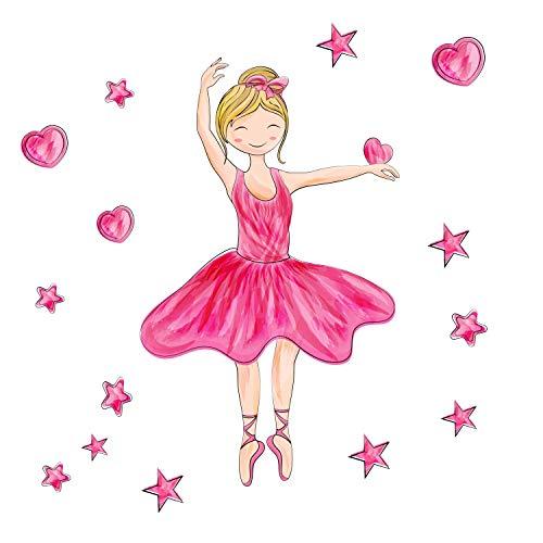 EmmiJules muursticker ballerina voor de kinderkamer - verkrijgbaar in verschillende maten - Made in Germany - baby meisjes kinderen deco dansen danseres ballet babykamer muursticker 35cm x 35cm roze