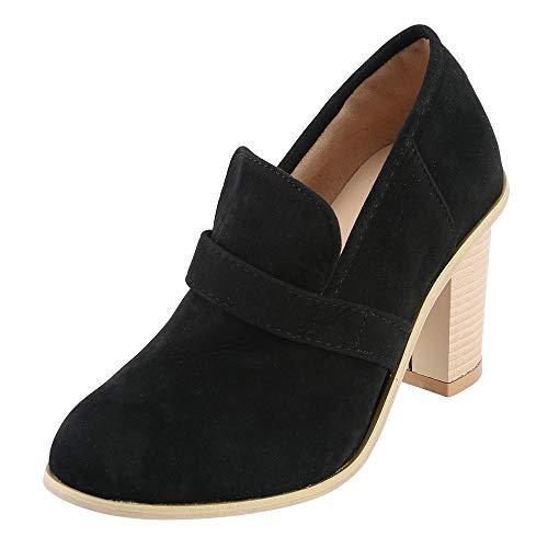ZODOF Botas Mujer Zapatos tacón Alto Ante Punta Redonda