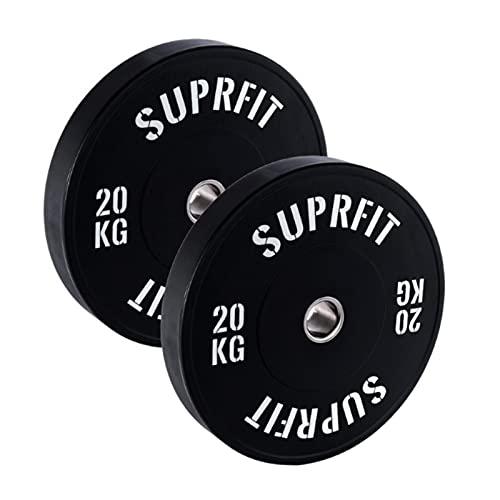 Suprfit Econ Bumper Plate White Logo, disco per bilanciere antiurto in gomma piena, disco di peso 10-25 kg, norma IWF 50,4 mm, attacco in acciaio inox, diametro 450 mm, nero (2 x 20 kg)