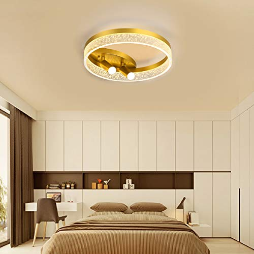 Lámpara de techo LED Iluminación de techo de Dormitorio Moderna Regulable, Efecto de luz de Pantalla de Acrílico, con 2 Focos Luz de Techo Dorada de 30W, Lámpara de dormitorio de hierro Ø 40cm