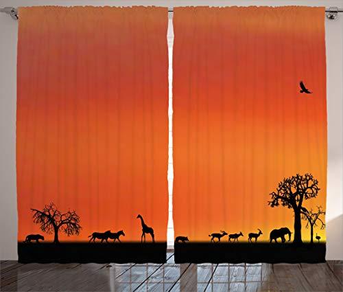 Tr674gs Afrika-Vorhänge, Panorama von Safari-Tieren Möwen Reflexionen im Hintergrund bei Sonnenuntergang Landschaft, Wohnzimmer Schlafzimmer Fenstervorhänge 2 Paneel-Set, 270 x 190 cm, Orange Schwarz