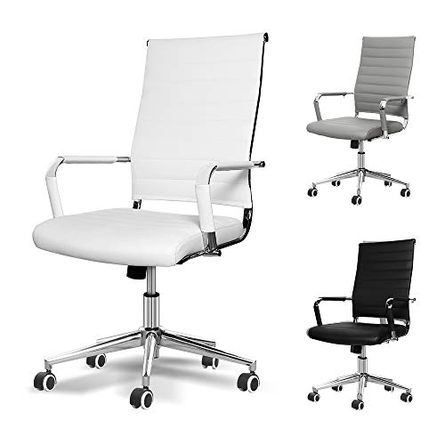 Okeysen Office Desk Chair, Ergonomic Leather Executive Conference Computer Chair, Modern Ribbed, Height Adjustable Tilt, Upgraded Seat with Arm PU Wrap, Swivel Rolling Chair. (White)