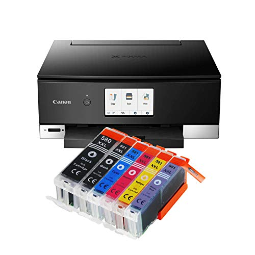 Canon Pixma TS8350 TS-8350 All-in-One Farbtintenstrahl-Multifunktionsgerät (Drucker, Scanner, Kopierer, CD-Druck, USB, WLAN, Apple AirPrint, SD-Karte) Schwarz + 6er Set IC-Office 580XXL 581XXL