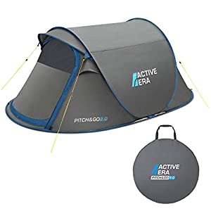 Active Era® V2 Waterproof 2 Person Pop-Up Tent – 100% Storm Tested with Advanced Ventilation and Easy-Pitch Construction | Perfect for Camping and Festivals