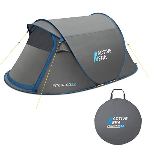 Active Era V2 Waterproof 2 Person Pop-Up Tent – 100% Storm Tested with...