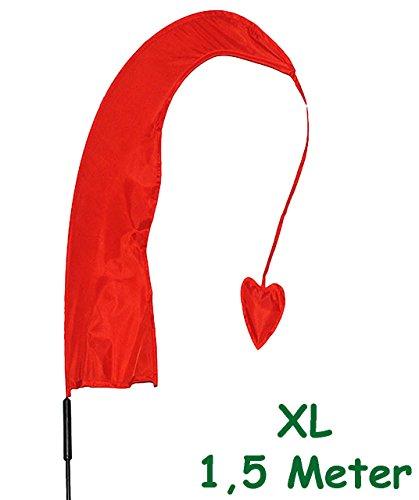 alles-meine.de GmbH 1 Stück _ XL - 1,5 m - Windfahne / Balifahne -  ROT  - mit Fahnenstange - UV-beständig & wetterfest - Windrichtungsanzeige - aus Nylon / Flagge Windrichtung..