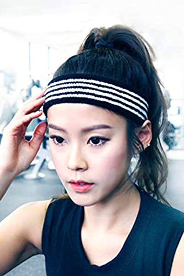 Women Gift Personality Sets Hair Accessories Hair Hoop Sporty Fashion Letter wash Knit Headband Yoga Exercise (Black Bars
