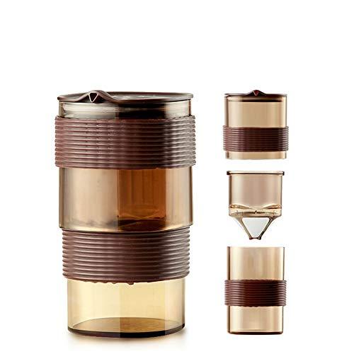 Wanlianer French Press Kaffee- und Teekocher Französisch Presse-Topf-Kaffee-Topf-beweglicher Edelstahl-Filtertopf kleinen Mund Topf Filter Cup Kaffeetasse Combined (Farbe : Braun, Größe : 150ml)
