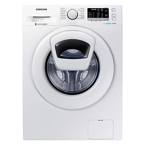 Samsung - Lavadora WW80K5410WWAddwash de 8kg, A+++, Tecnología EcoBubble, Motor Digital Inverter, Prelavado de Burbujas y Tambor Diamante