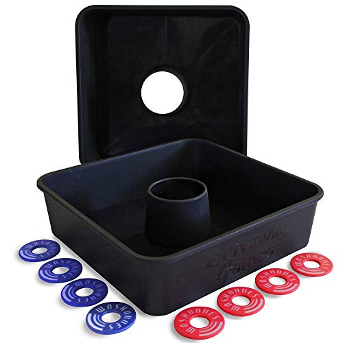 Driveway Games All Weather Washoos Washer Toss Game Set. 8 Pitching Rings & Toss Targets
