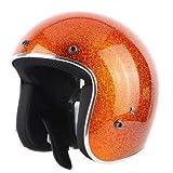 ZWL Motocicleta Coche Deportivo FRP Casco De Gama Alta Medio Casco Brillante Intermitente Glitter Color del Caramelo Medio Cubierto Casco Retro,Orange,L